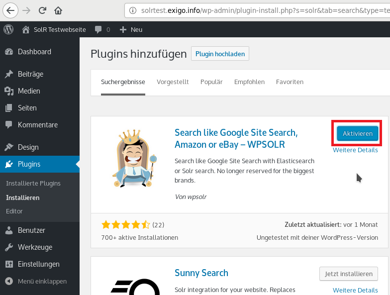 SolR in Wordpress integrieren - 02
