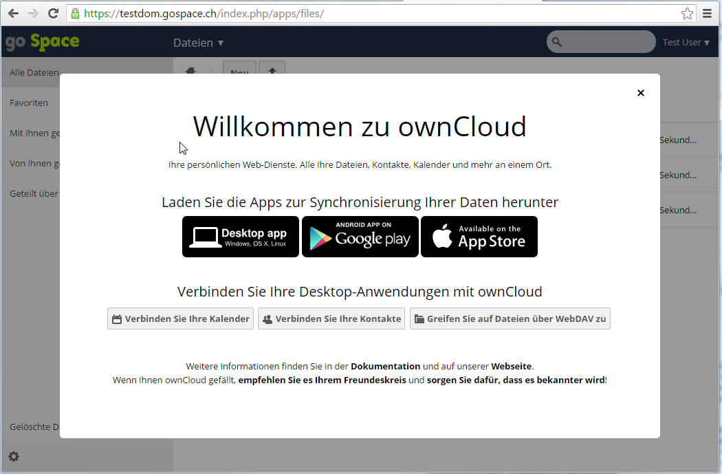 Erster Login in go Space