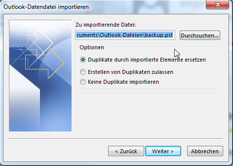 Outlook PST-Import - 05