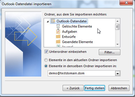 Outlook PST-Import - 06
